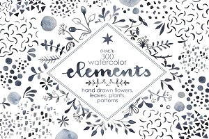 Watercolor Elements Bundle