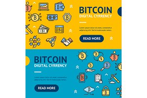 Bitcoin Digital Currency Banner Set