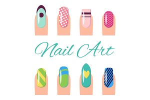 Nail Art Collection Poster Vector Illustration