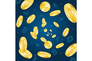 Bitcoin Currency Falling Background
