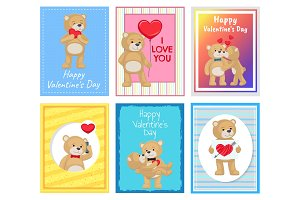 I Love You and Me Teddy Bears Vector