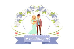 Wedding Bride and Groom Poster Vector Illustration