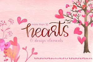 WaterColor Hearts & Design Elements