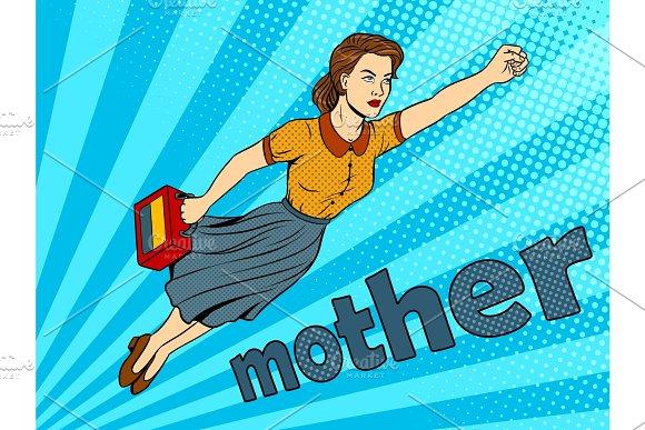 Mother super hero pop art vector illustration