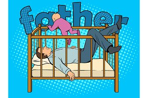 Father sleeps and baby escape pop art vector