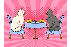 Cats on date in cat restaurant pop art vector