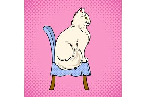 Female cat sits on chair pop art vector