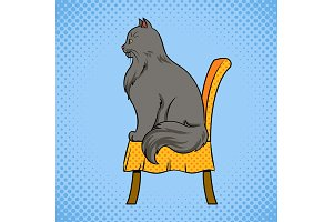 Male cat sits on chair pop art vector