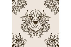 Bison head seamless pattern vector illustration