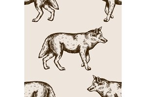 Wolf animal seamless pattern vector illustration