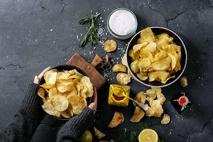 Bowl of home made potato chips