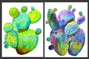 Two watercolor cactus