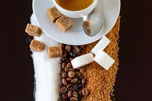 Carpet of coffee and sugar