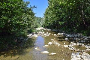 The mountain river. Shallow mountain river, water flows through the rocks.
