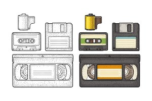 Set retro technology object. Vintage vector black engraving illustration