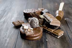 pieces of chocolate on wooden table