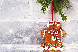 Gingerbread cookie girl hanging on fir tree branch. Christmas background