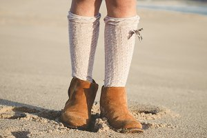 Detail of little girl boots