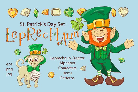 Leprechaun St Patrick S Day Set Ilrations