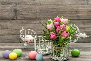 Tulip flower and colored easter eggs