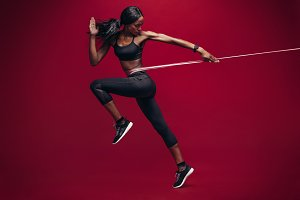 Sporty woman exercising