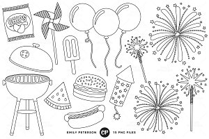 4th of July BBQ Digital Stamps