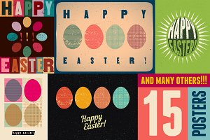 Typographic Easter greeting card.