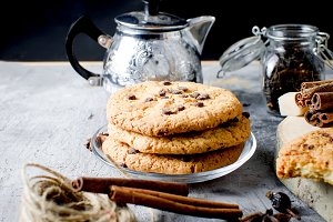 cookies with chocolate drops, сup of