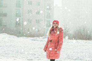 Girl in red parka