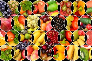 Collage fruits and vegetables