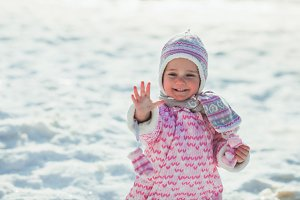 Girl enjoys the snow