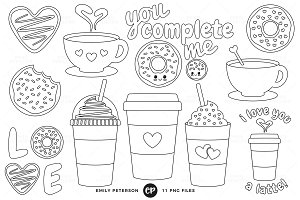 Coffee and Donuts Digital Stamps