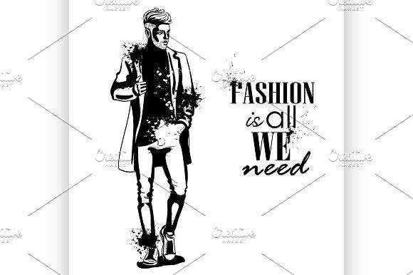 Vector man model dressed