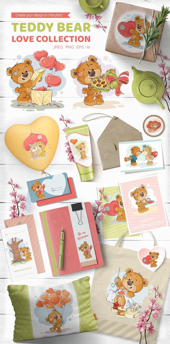 Teddy bear. Love collection-Graphicriver中文最全的素材分享平台
