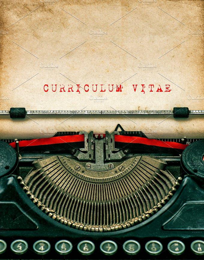 Vintage typewriter. Curriculum vitae - Business