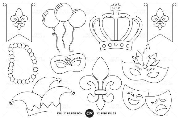 Mardi Gras Digital Stamps in Illustrations