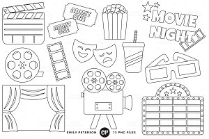 Movie Night Digital Stamps
