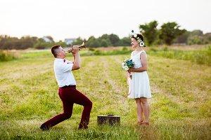 Romantic walk in the field