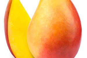 Mango with slice isolated