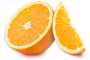 Orange slices isolated on white