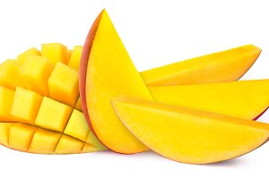 Five mango slices isolated