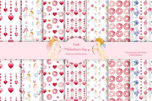 Valentine's Day digital paper pack