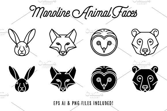 Monoline Animal Faces Vol. 1