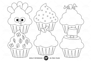 Thanksgiving Cupcakes Digital Stamps