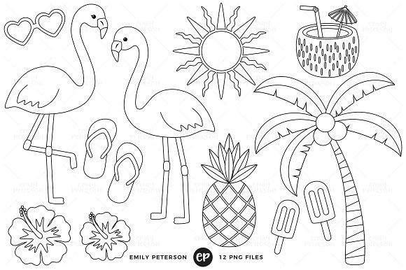 Tropical Digital Stamps