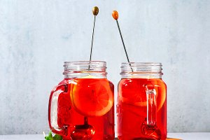 chilled karkade tea with lemon on a