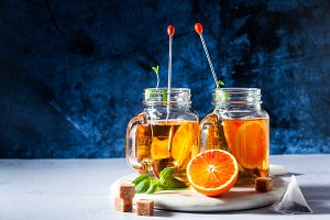 Traditional iced tea with orange and