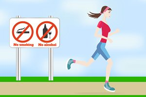 Running woman outdoors