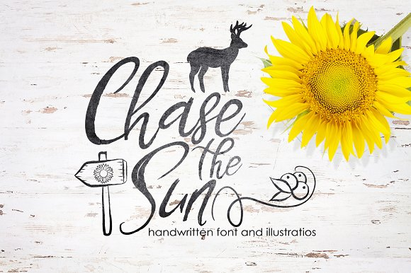 Chase The Sun Font Illustrations