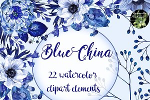Blue China set 22 watercolor clipart